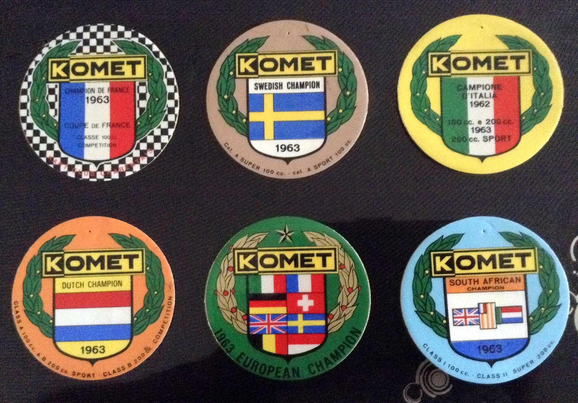 DONATED BY DONALD PIPER, KOMET ENGINE STICKERS FROM 1963