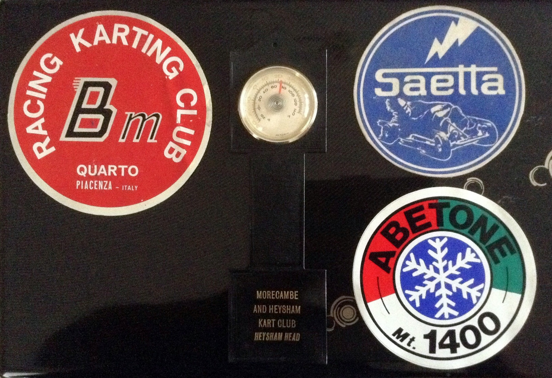 DONATED BY DONALD PIPER, STICKERS AND A MORECAMBE KART CLUB BAROMETER