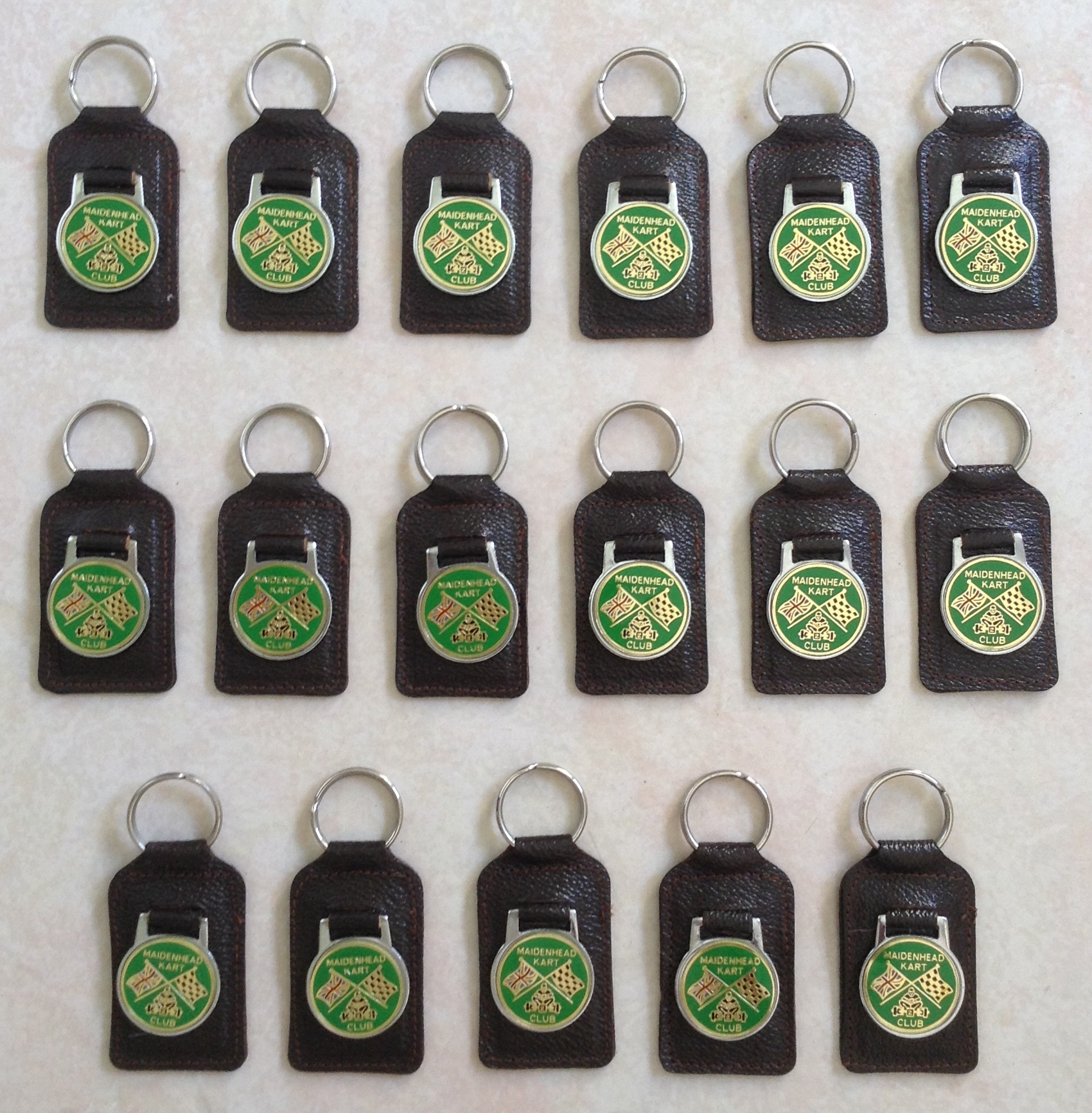 17 1960s MAIDENHEAD KART CLUB KEYRINGS